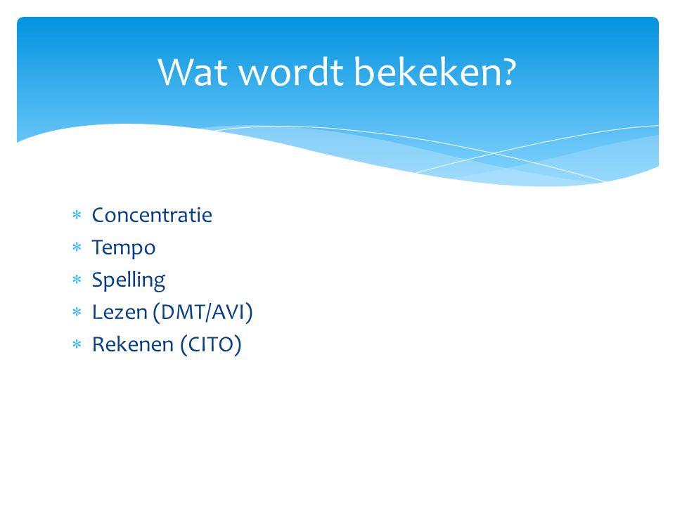Wat wordt bekeken Concentratie Tempo Spelling Lezen (DMT/AVI)
