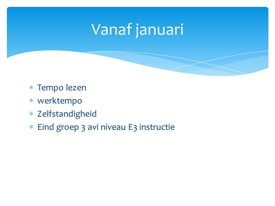Vanaf januari Tempo lezen werktempo Zelfstandigheid
