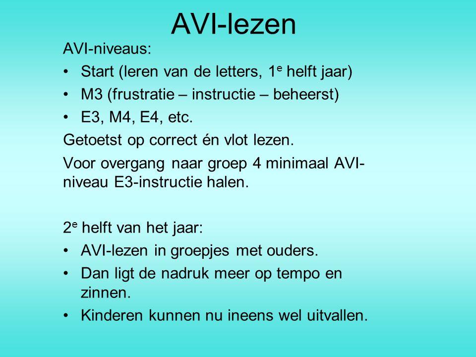 AVI-lezen AVI-niveaus: Start (leren van de letters, 1e helft jaar)