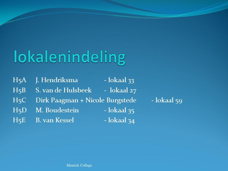 lokalenindeling H5A J. Hendriksma - lokaal 33