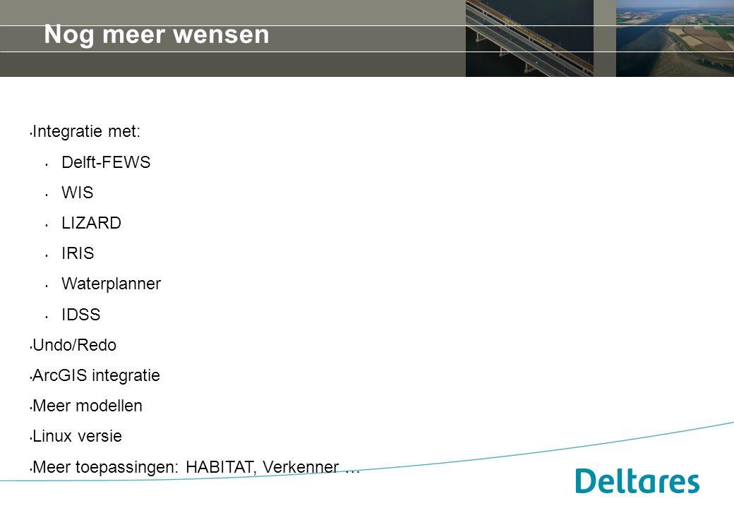 Nog meer wensen Integratie met: Delft-FEWS WIS LIZARD IRIS