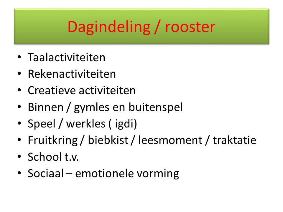 Dagindeling / rooster Taalactiviteiten Rekenactiviteiten