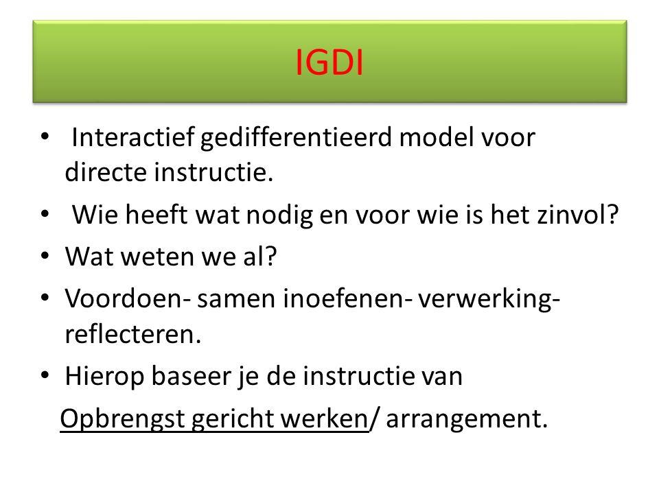 IGDI Interactief gedifferentieerd model voor directe instructie.