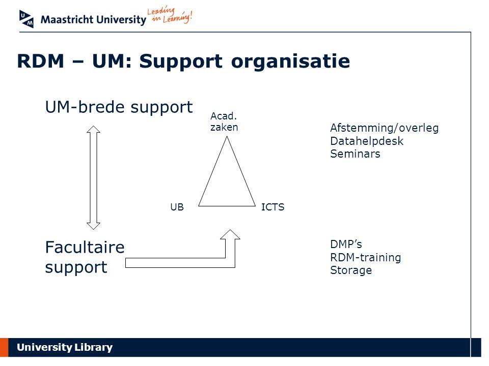 RDM – UM: Support organisatie