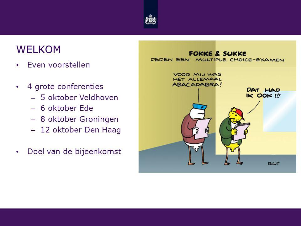 Welkom Even voorstellen 4 grote conferenties 5 oktober Veldhoven