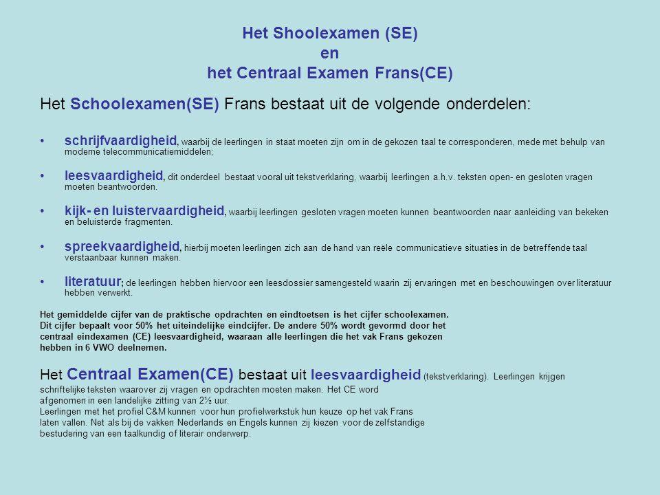 Het Shoolexamen (SE) en het Centraal Examen Frans(CE)