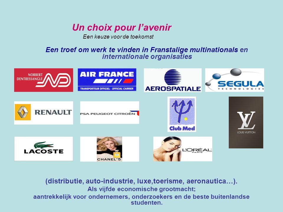 Un choix pour l'avenir Een keuze voor de toekomst. Een troef om werk te vinden in Franstalige multinationals en internationale organisaties.