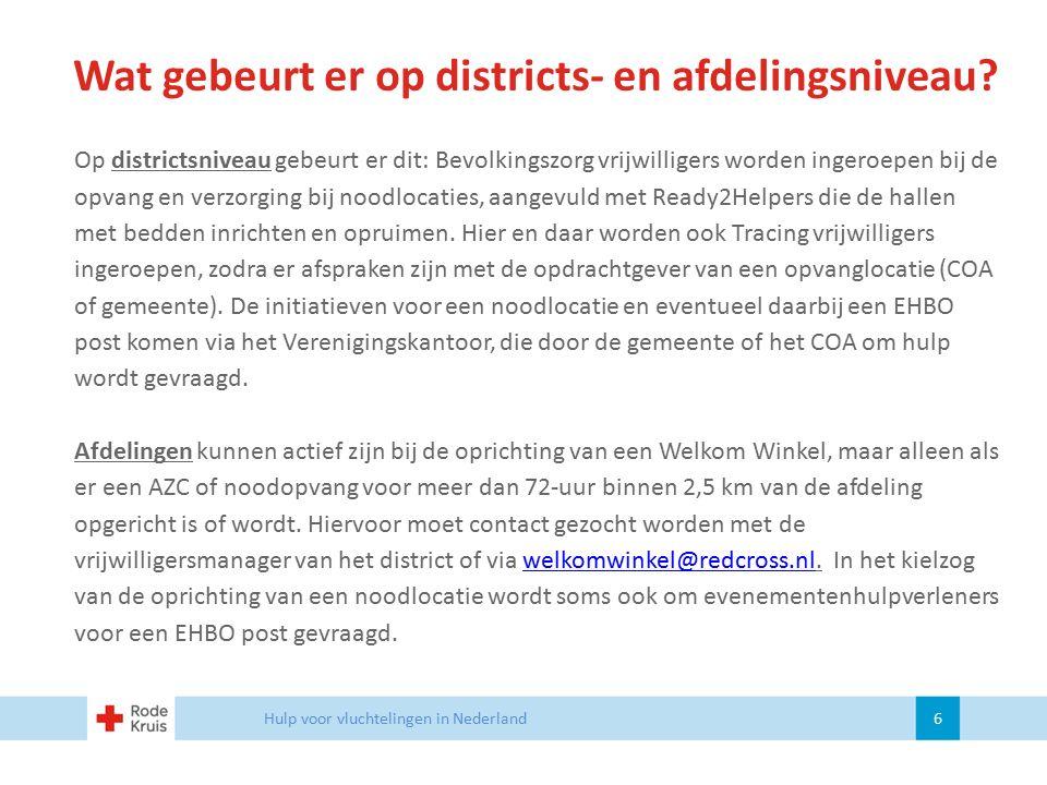 Wat gebeurt er op districts- en afdelingsniveau