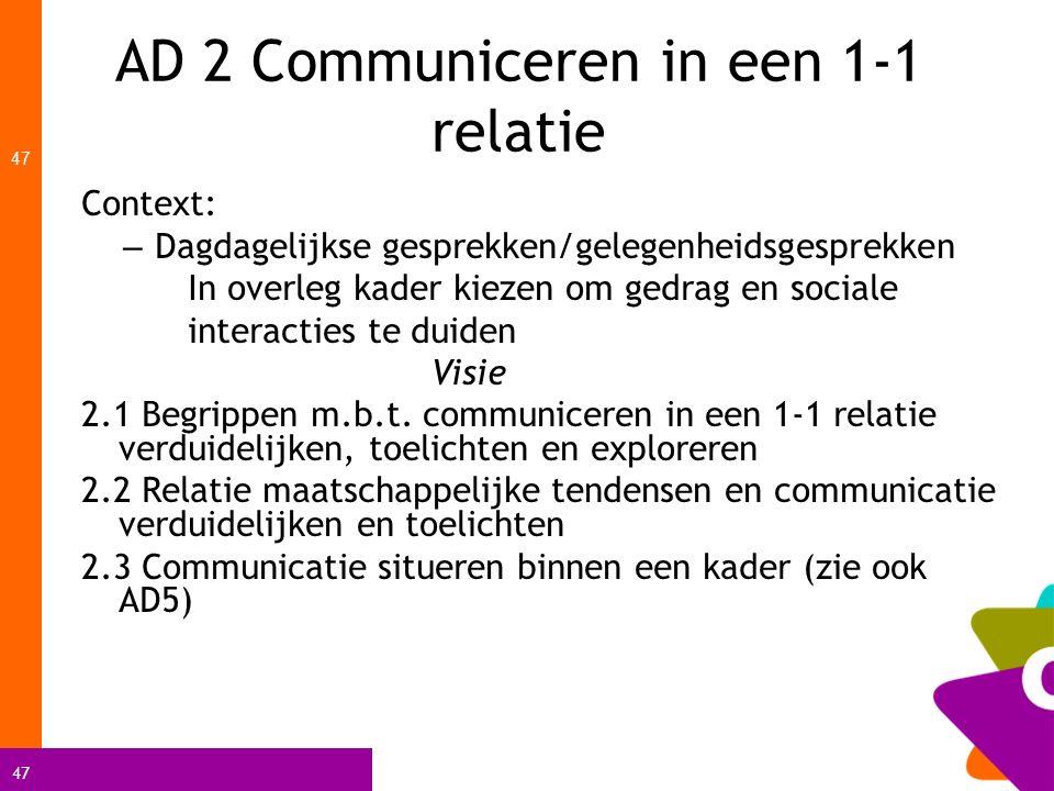 AD 2 Communiceren in een 1-1 relatie