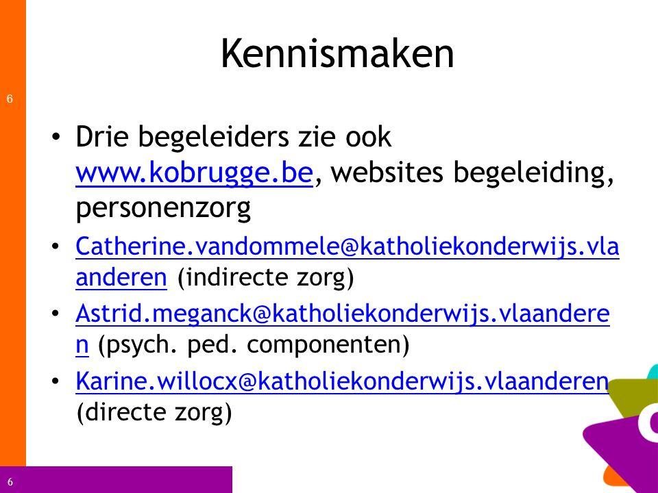 Kennismaken Drie begeleiders zie ook www.kobrugge.be, websites begeleiding, personenzorg.