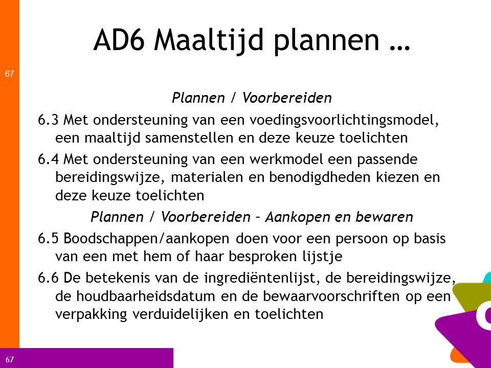 AD6 Maaltijd plannen … Plannen / Voorbereiden