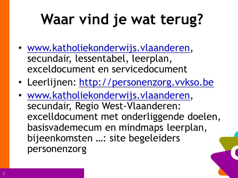 Waar vind je wat terug www.katholiekonderwijs.vlaanderen, secundair, lessentabel, leerplan, exceldocument en servicedocument.