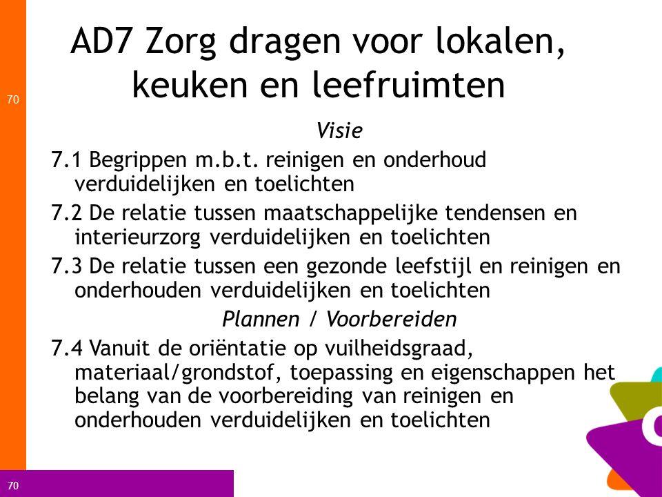 AD7 Zorg dragen voor lokalen, keuken en leefruimten