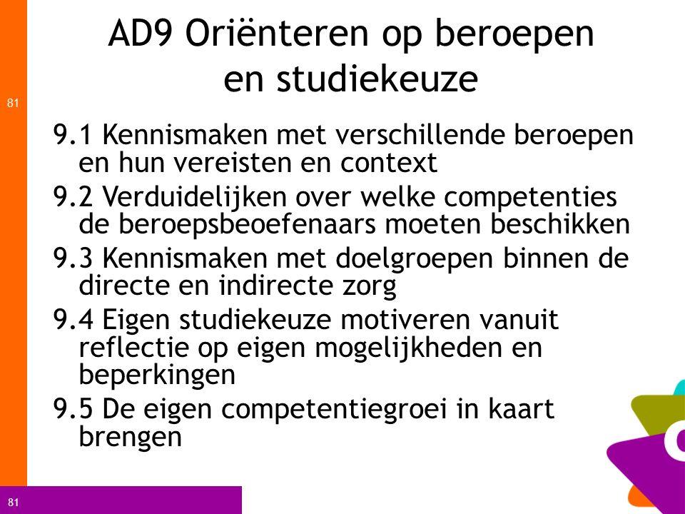 AD9 Oriënteren op beroepen en studiekeuze