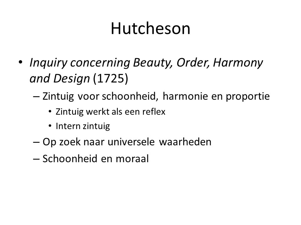 Hutcheson Inquiry concerning Beauty, Order, Harmony and Design (1725)
