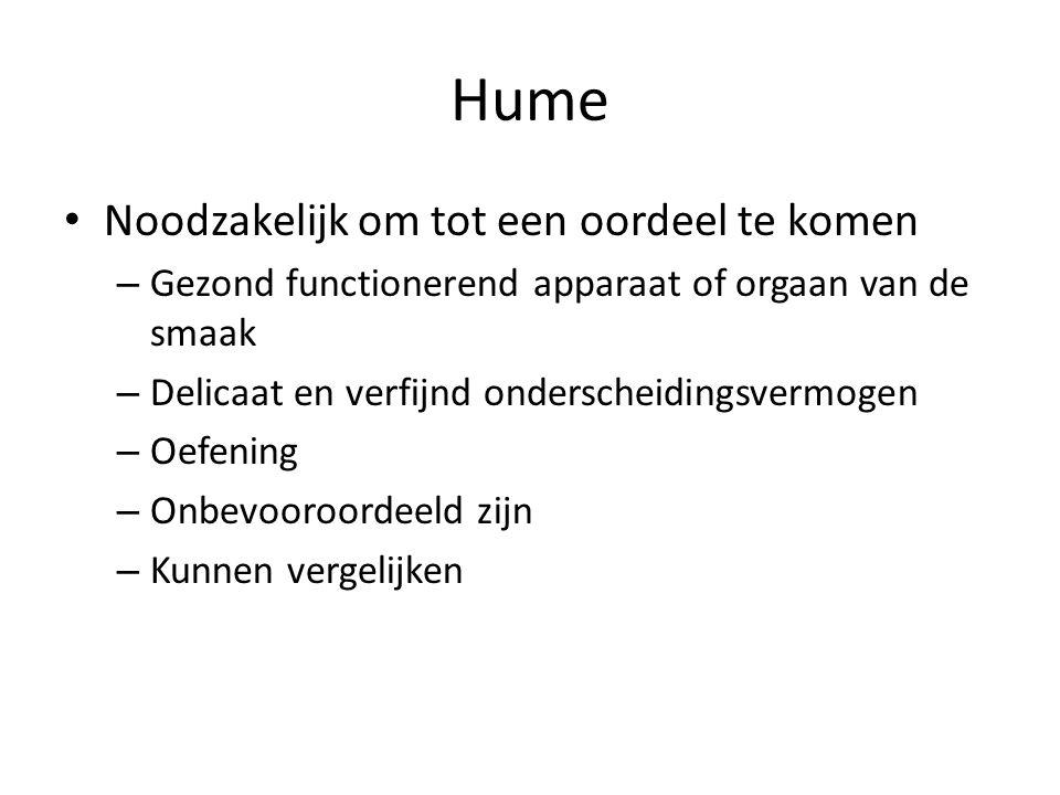 Hume Noodzakelijk om tot een oordeel te komen