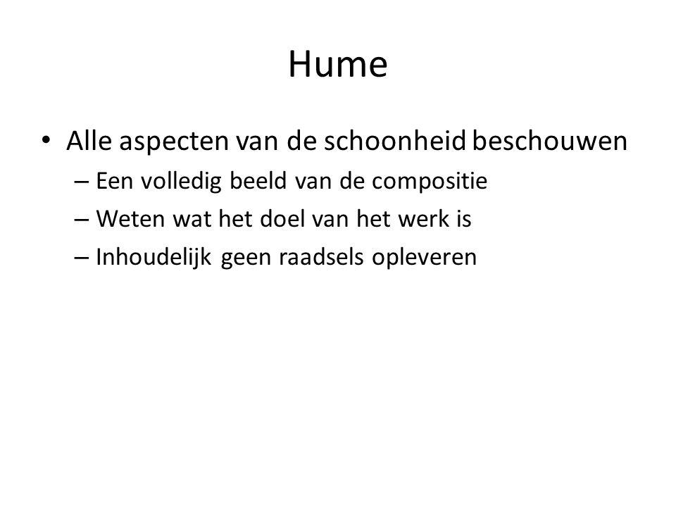 Hume Alle aspecten van de schoonheid beschouwen