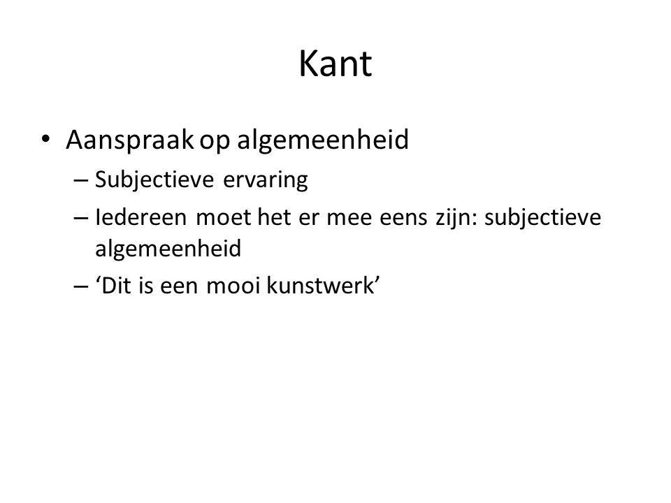 Kant Aanspraak op algemeenheid Subjectieve ervaring