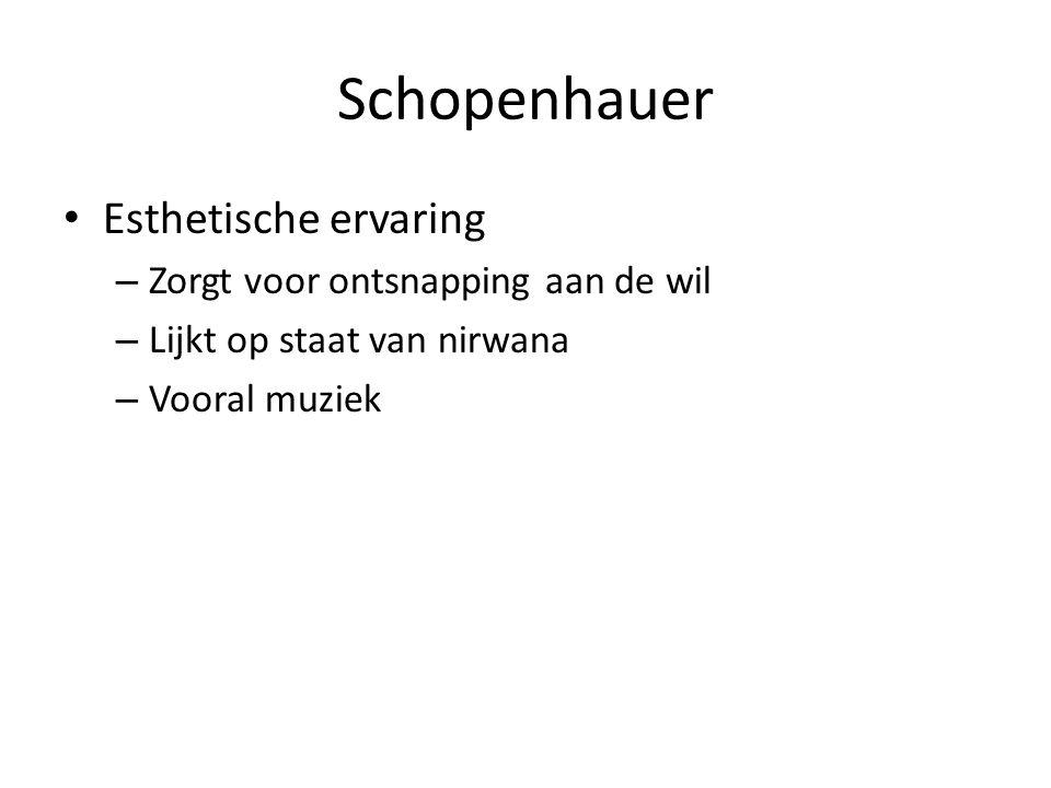 Schopenhauer Esthetische ervaring Zorgt voor ontsnapping aan de wil