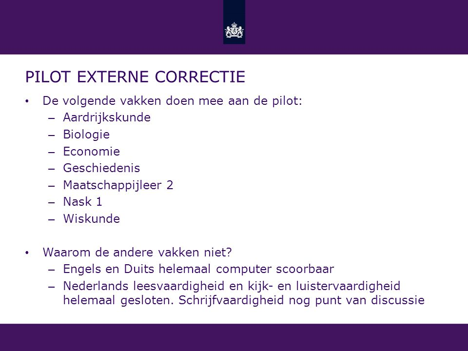 Pilot externe correctie