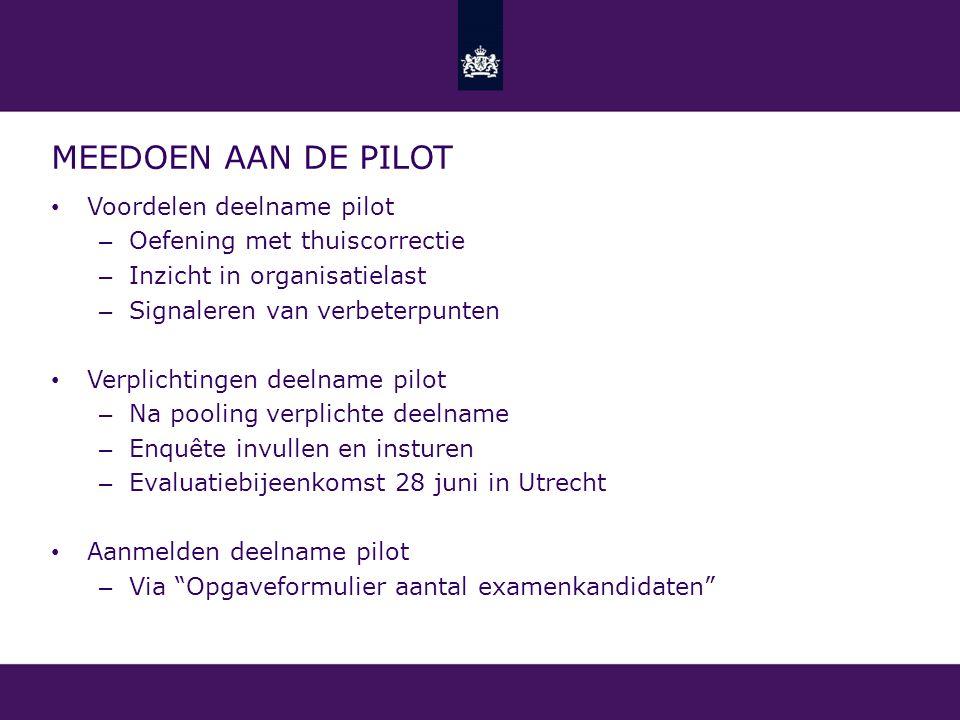 Meedoen aan de pilot Voordelen deelname pilot