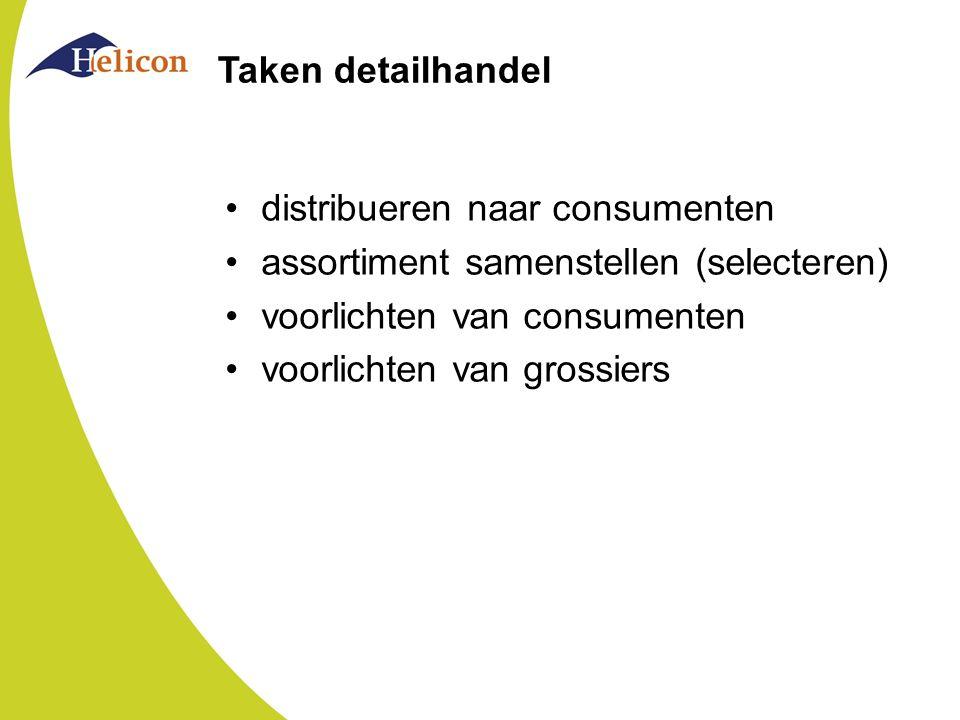 Taken detailhandel distribueren naar consumenten. assortiment samenstellen (selecteren) voorlichten van consumenten.