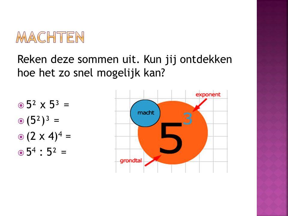 Machten Reken deze sommen uit. Kun jij ontdekken hoe het zo snel mogelijk kan 5² x 5³ = (5²)³ =
