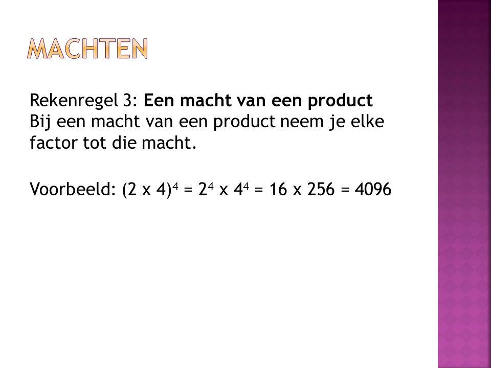 machten Rekenregel 3: Een macht van een product Bij een macht van een product neem je elke factor tot die macht.