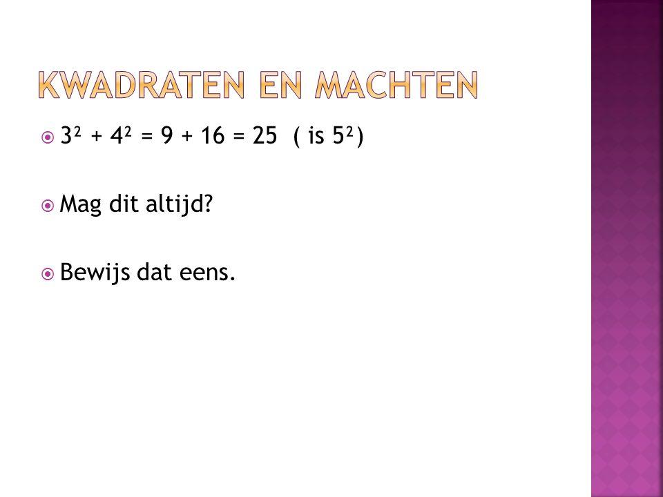 Kwadraten en machten 3² + 4² = 9 + 16 = 25 ( is 5²) Mag dit altijd