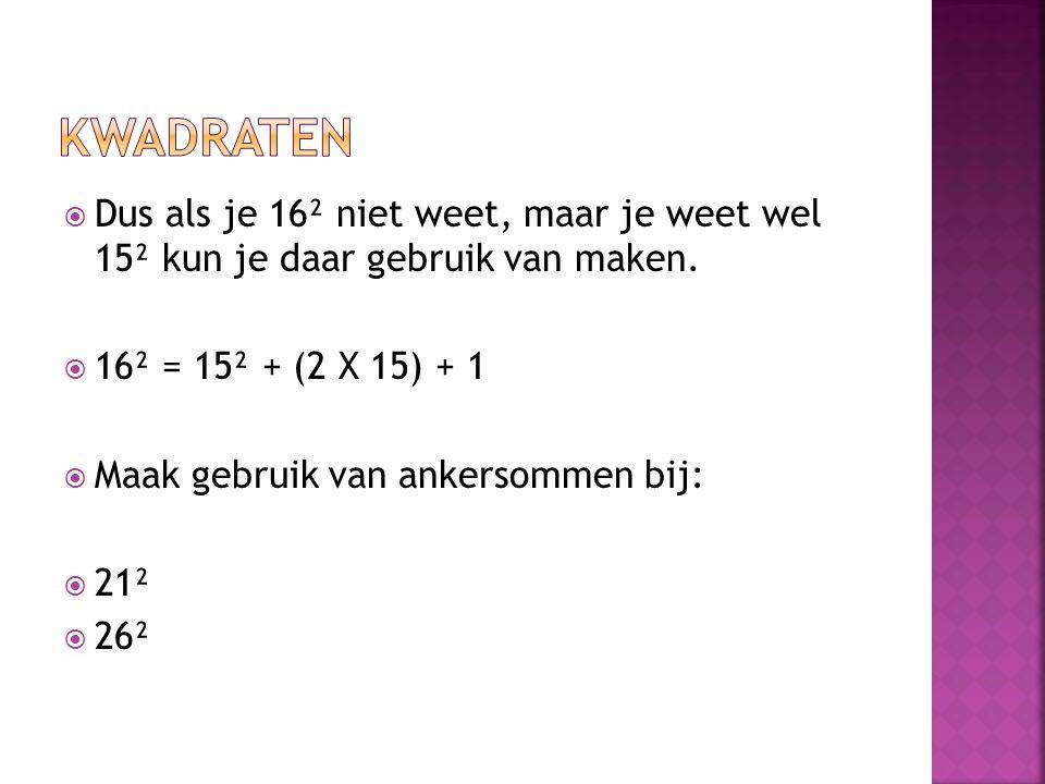 Kwadraten Dus als je 16² niet weet, maar je weet wel 15² kun je daar gebruik van maken. 16² = 15² + (2 X 15) + 1.