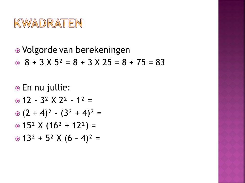 Kwadraten Volgorde van berekeningen