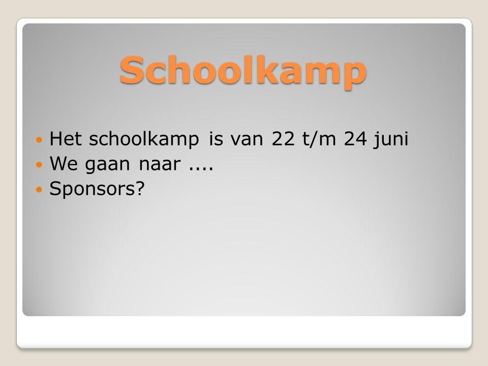 Schoolkamp Het schoolkamp is van 22 t/m 24 juni We gaan naar ....