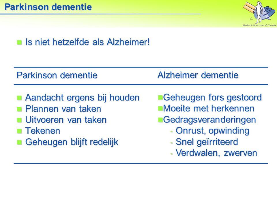 Parkinson dementie Is niet hetzelfde als Alzheimer! Parkinson dementie. Aandacht ergens bij houden.