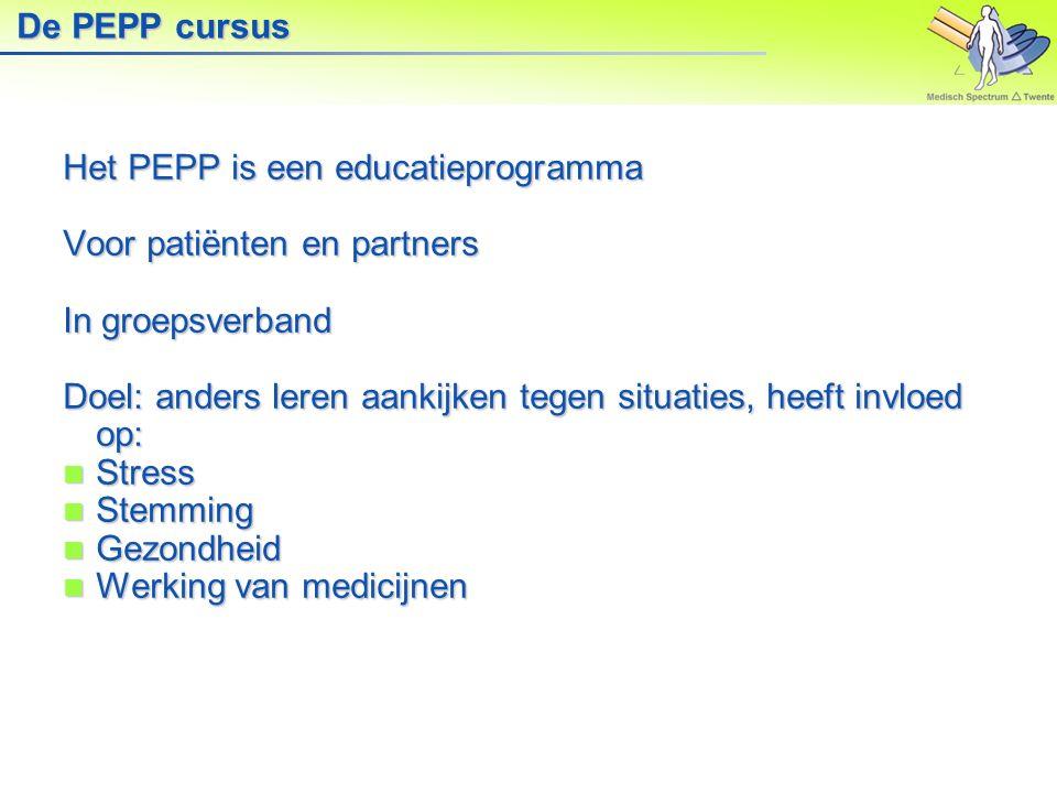 De PEPP cursus Het PEPP is een educatieprogramma. Voor patiënten en partners. In groepsverband.