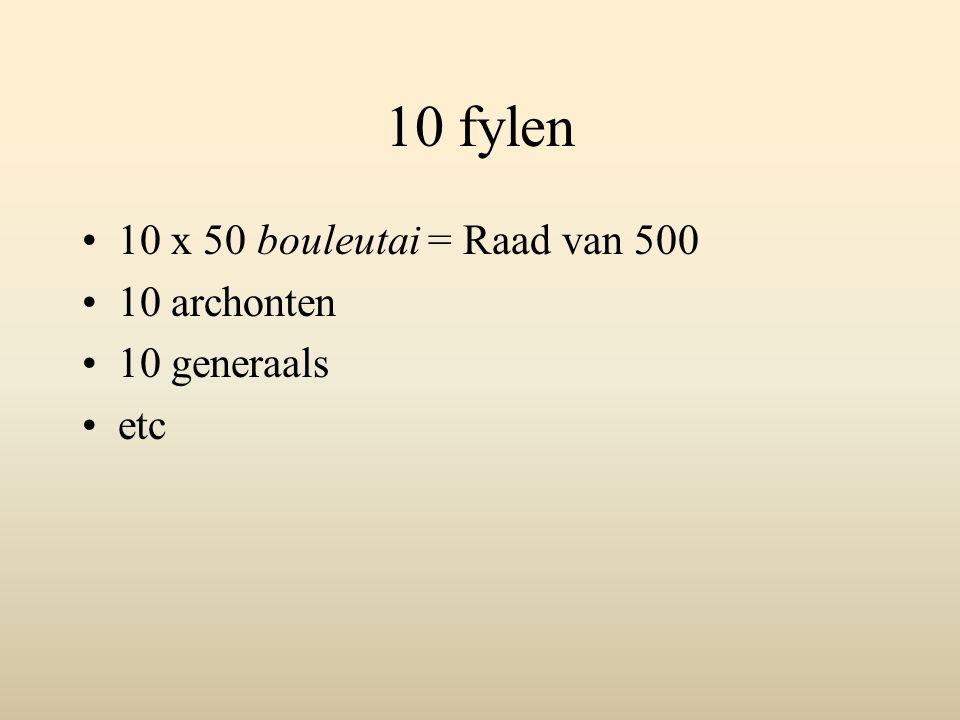 10 fylen 10 x 50 bouleutai = Raad van 500 10 archonten 10 generaals