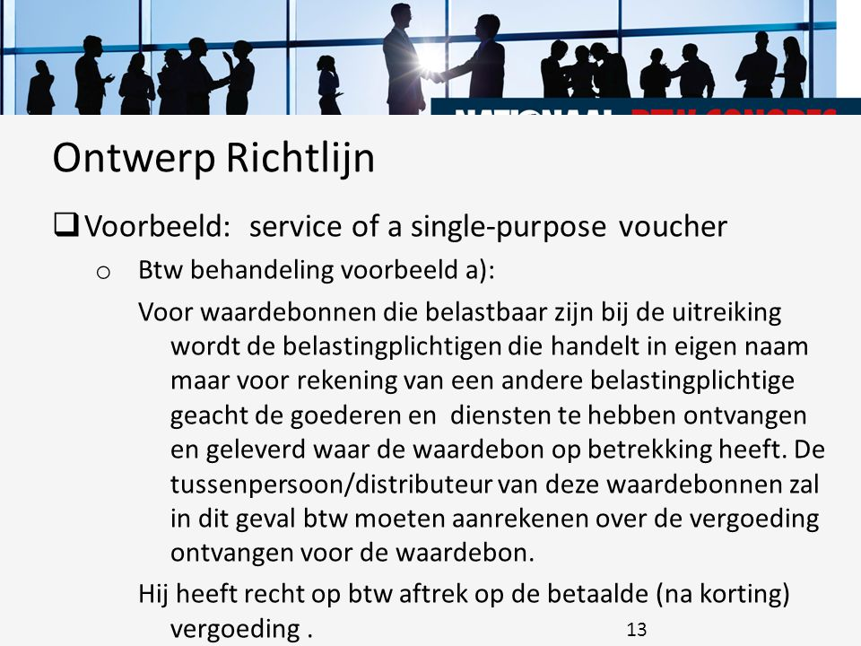 Ontwerp Richtlijn Voorbeeld: service of a single-purpose voucher