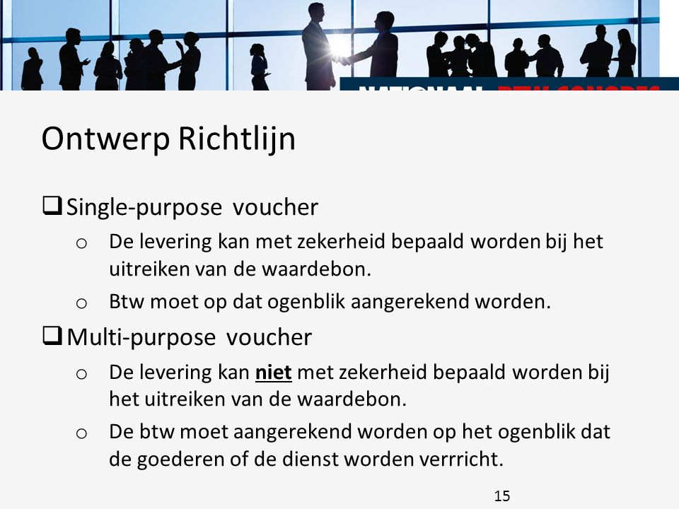 Ontwerp Richtlijn Single-purpose voucher Multi-purpose voucher
