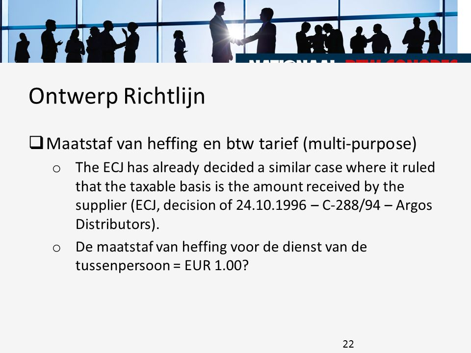 Ontwerp Richtlijn Maatstaf van heffing en btw tarief (multi-purpose)