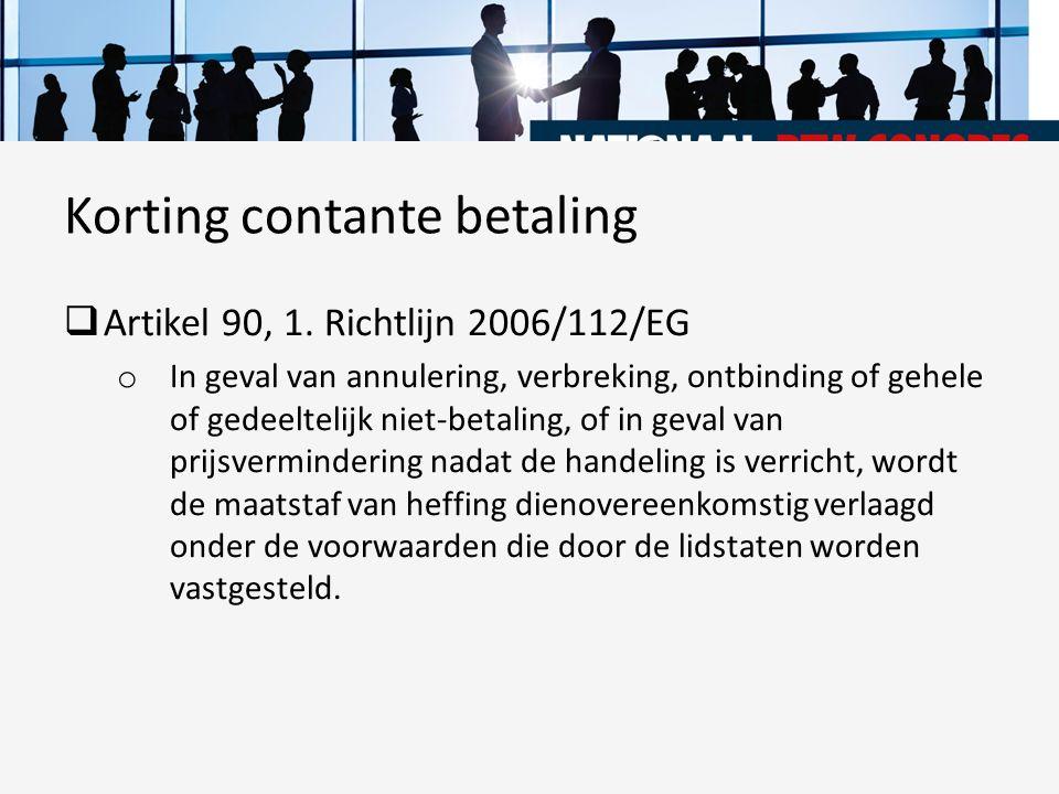 Korting contante betaling