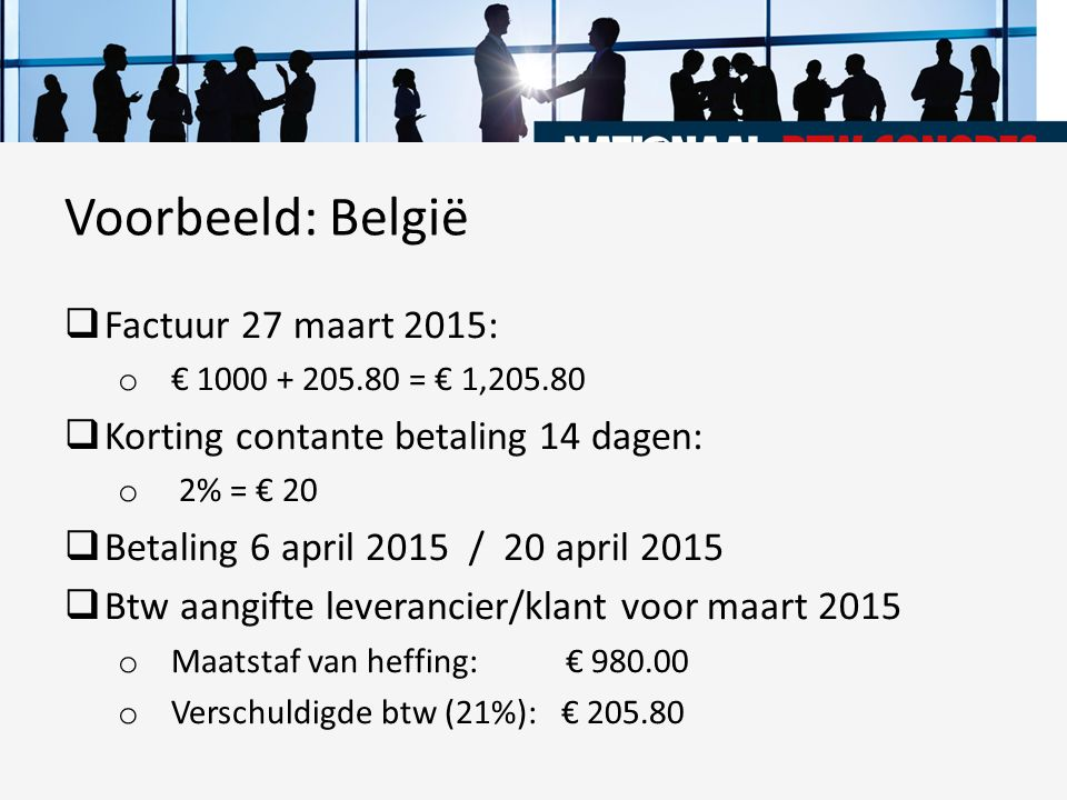 Voorbeeld: België Factuur 27 maart 2015: