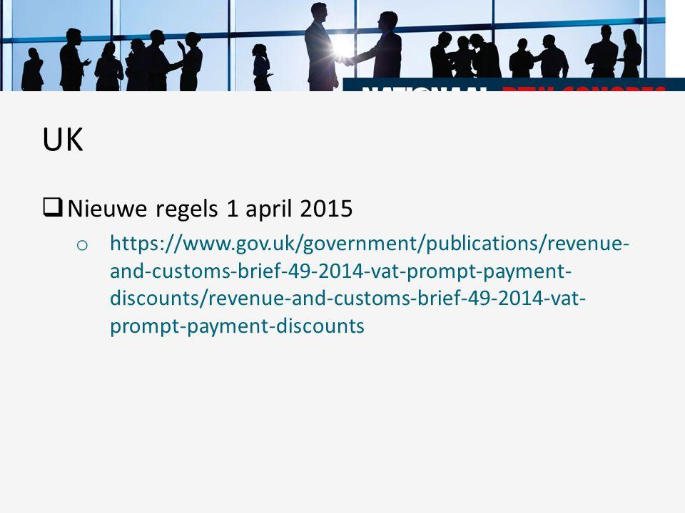 UK Nieuwe regels 1 april 2015.