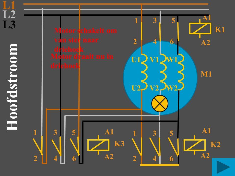 Hoofdstroom L1 L2 L3 A1 1 3 5 Motor schakelt om van ster naar driehoek