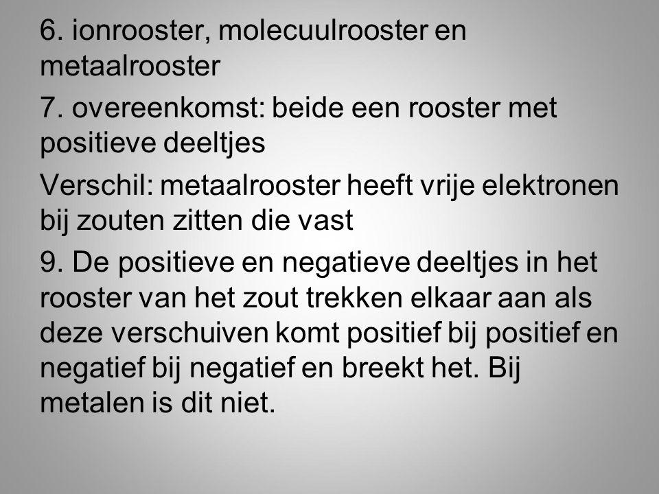 6. ionrooster, molecuulrooster en metaalrooster 7