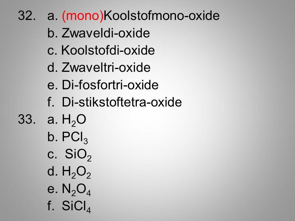 32. a. (mono)Koolstofmono-oxide b. Zwaveldi-oxide c.