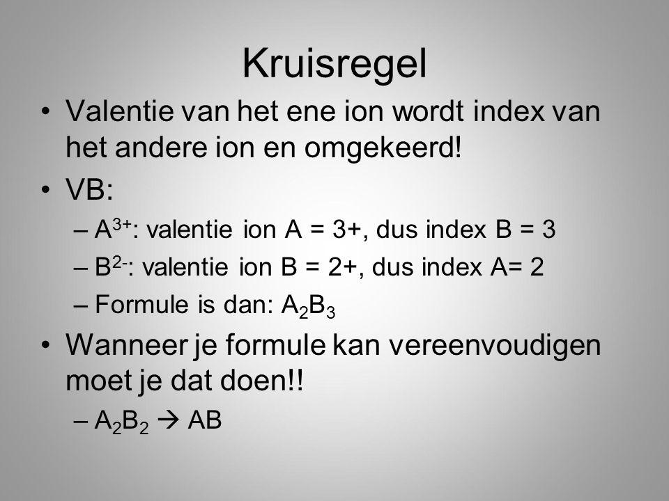 Kruisregel Valentie van het ene ion wordt index van het andere ion en omgekeerd! VB: A3+: valentie ion A = 3+, dus index B = 3.