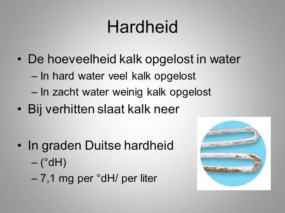 Hardheid De hoeveelheid kalk opgelost in water