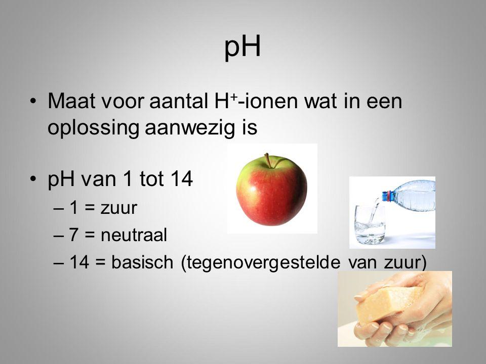 pH Maat voor aantal H+-ionen wat in een oplossing aanwezig is