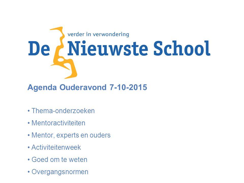 Agenda Ouderavond 7-10-2015 Thema-onderzoeken Mentoractiviteiten