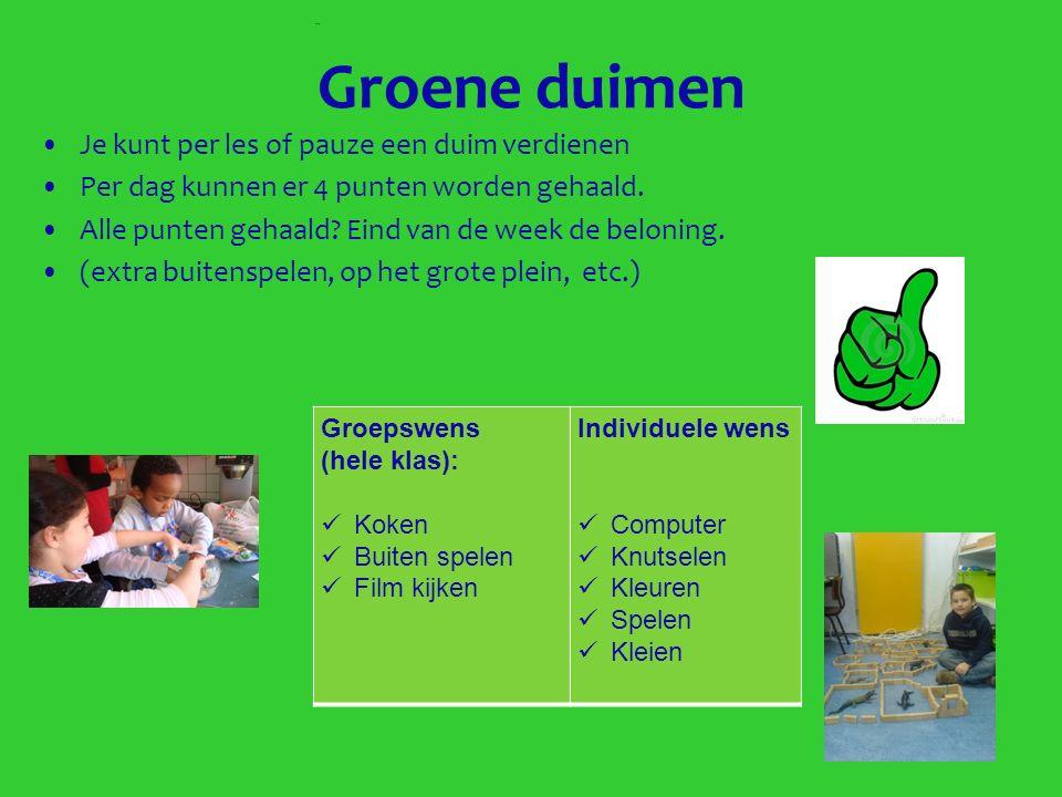 Groene duimen Je kunt per les of pauze een duim verdienen