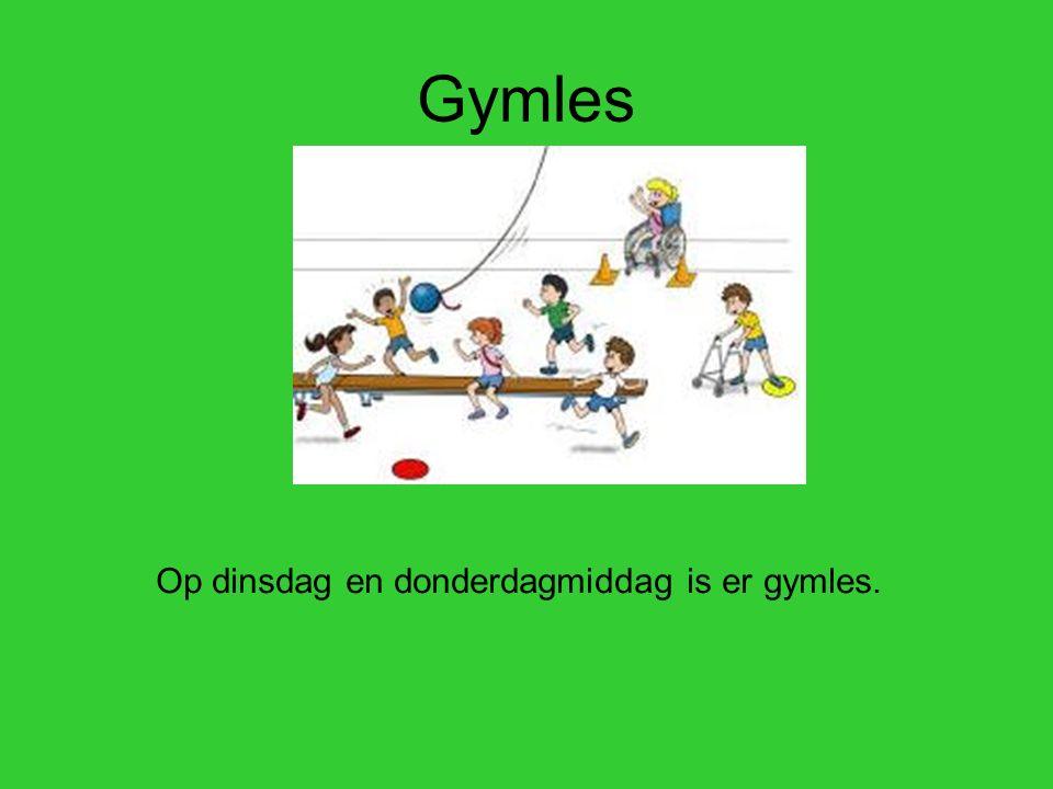 Gymles Op dinsdag en donderdagmiddag is er gymles.